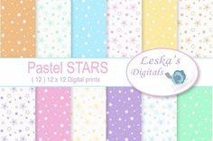 Pastel Stars Digital Paper Graphics Stars digital paper, Pastel stars digital scrapbook paper, Baby stars digital paper pack, Pastel bab by Leska's Digitals