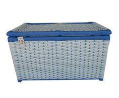 Baú Fibra Sintética Branco E Azul 60x34x36