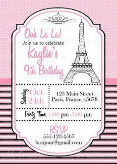 Paris paint birthday party invitation eiffel tower invite party paris birthday party invitation parisian printable invitation french birthday party eiffel tower invite pink and black poodle stopboris Gallery