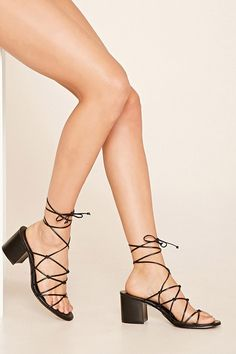 Black Strappy Lace Up Open Toe Wide Chunky Heels Faux Leather Sd ANig8l