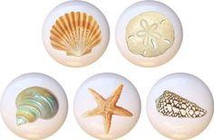 Set of 5 Ceramic Knobs - Seashells By WA Farm Fresh Knobs http://www.amazon.com/dp/B00N7S7HT4/ref=cm_sw_r_pi_dp_b9QVwb1D1SMJC