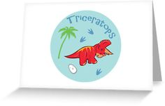 Cute Triceratops Greeting Cards & Postcards #triceratops #dinosaurs #red #cute #jurassic
