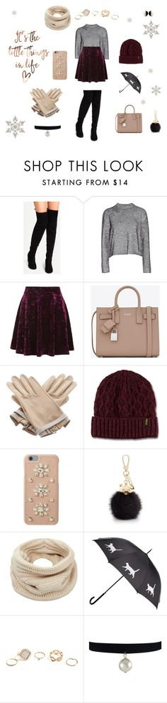 """""""Rainy Winter's Day"""" by smileyaisha ❤ liked on Polyvore featuring T By Alexander Wang, Topshop, Yves Saint Laurent, Hermès, Dr. Martens, MICHAEL Michael Kors, Furla, Helmut Lang, GUESS and winterstyle"""