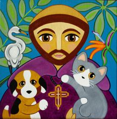 Saint FRANCIS of Assisi with CAT Dog & Bird Folk Art by thatsmycat, $10.00