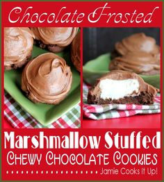 Chocolate Frosted Marshmallow Stuffed Chewy Chocolate Cookies from Jamie Cooks It Up!