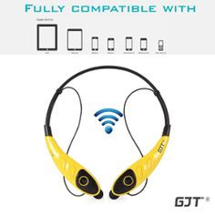 GJT®HBS-860 Wireless Bluetooth Stereo Headset Universal Vibration Flex Neck Strap Style Earphone Headphone for iPhone 6 6S 5S, Samsung Galaxy S6 S6 edge, Note 4 3 2 Android Cellphones Enabled Bluetooth Device