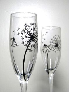 Painted Glassware: I love dandelions. from weeds to wishes