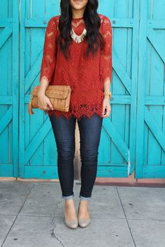 Dressy Casual Outfit for Thanksgiving Close Up