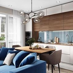 Stylish Living Room Decor Ideas: Update Your Living Room Design Living Room White, Living Room Grey, Small Living Rooms, Living Room Kitchen, Living Room Modern, Living Room Designs, Living Room Decor, Kitchen Dining, Kitchen Cabinets
