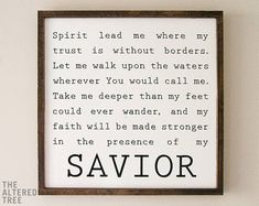 Oceans Hillsong Lyrics | Spirit Lead Me Where My Trust Is Without Borders | Framed Wood Sign Scripture Wall Art Christian Wooden Signs