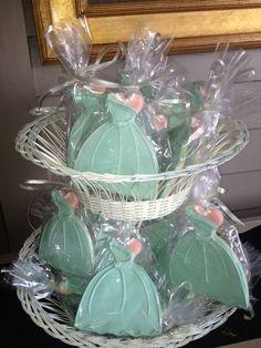 Bridesmaids Luncheon Favor mint dress cookies dress cookies