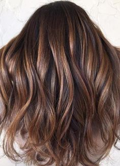 Brown balayage with caramel highlights