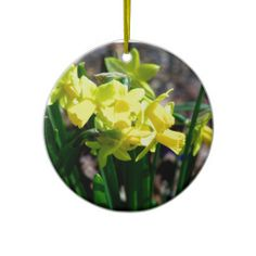 Group of Little Yellow Daffodils Christmas Tree Ornaments