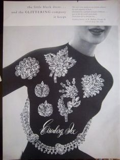 1956 Vintage Eisenberg Ice Glittering Brooch Pin Rhinestone JEWELRY Original Ad