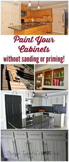Learn to paint your kitchen cabinets without losing your mind! Full tutorial by Designer Trapped in a Lawyer's Body. #paintcabinets #diy