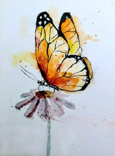 Watercolor - Yellow orange butterfly. Painted by Rayna Prettyman