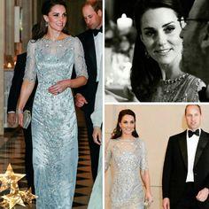 Por falar em jantar, temos tem a linda inspiração da Kate Middleton para um jantar formal, em Paris. O vestido é um fabuloso #jennypackham, azul celeste, com paetes florais. Digno de uma Duquesa.💎 #glamourous #katemiddleton #fashionstyle #britishembassy #paris