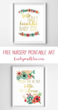 free nursery printable art   mint coral gold aqua art   baby girl gift   nursery art and decor   free printables