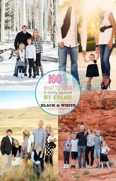 How to dress for family photos, this post is filled with ideas for Black and White clothes, with a link to a series featuring every color, over 100 ideas for what to wear in family pictures. Capturing-Joy.com