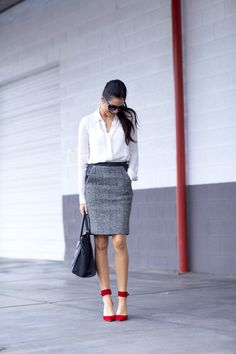 Top: Theory | Skirt: J.Crew | Heels: J.Crew | Bag: Celine | Glasses: Celine | Earrings: Bauble Bar