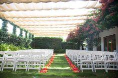 Calamigos Burbank Wedding. Flower petal aisle runner