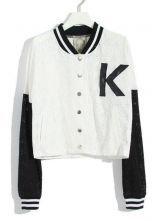 White Contrast Sleeve Lace Bomber Jacket