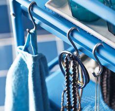 Storage tip: Use BYGEL S-hooks in your bathroom for towels and jewellery. #IKEA #joyofstorage #WonderfulEveryday. I love these hooks!