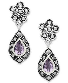 Genevieve & Grace Sterling Silver Earrings, Amethyst (5/8 ct. t.w.) and Marcasite Teardrop Earrings