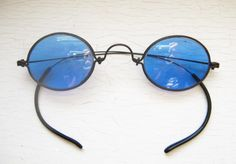 Unique Sunglasses, Vintage Eyewear, Steampunk Eyewear - Antique Blue Steel Wire Sunglasses | Retro Focus Eyewear