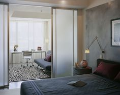 interior design, interiors, kristen rivoli, small space, home offices, room dividers, space design, sliding doors, modern bedrooms