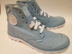 Palladium Blanc Hi Dream Blue/White Canvas Hightop Boots Men 8 / Women 9.5…