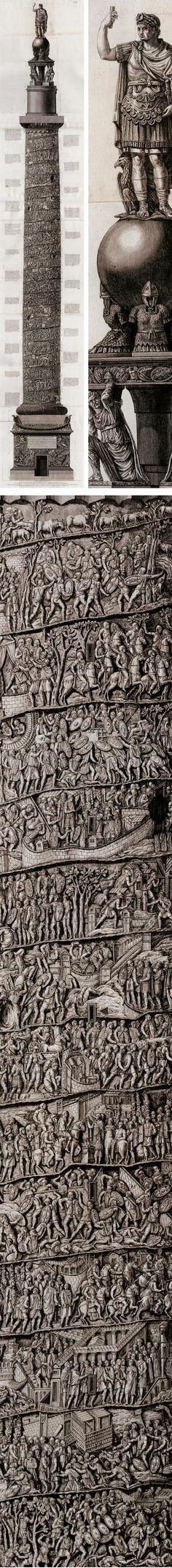 Trajan's Column by Giovanni Battista Piranesi is a Roman triumphal column in Rome. It commemorates Roman emperor Trayan's victory in the Dacian Wars.