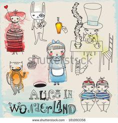 Alice im Wunderland - Hand gezeichnete Buchstaben und Symbole zur Illustration von Lewis Carrolls berühmten Kinderroman