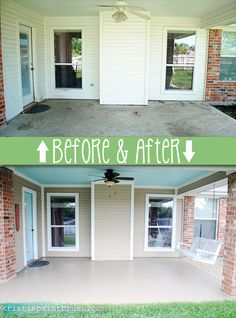 to Paint a Porch Floor How to paint a porch floor: step by step process of cleaning, etching and painting for great results!How to paint a porch floor: step by step process of cleaning, etching and painting for great results! Painted Porch Floors, Porch Paint, Porch Flooring, Diy Flooring, Flooring Ideas, Back Patio, Backyard Patio, Side Porch, Patio Roof