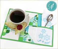 Mug Rug with Embroidery, Patchwork, and a Pocket: Janome Memory Craft 500E | Sew4Home