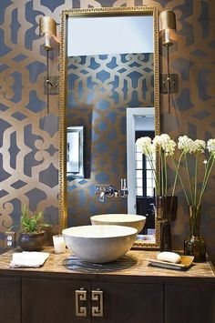 Decor home design room design design Bad Inspiration, Bathroom Inspiration, Style At Home, Home Interior Design, Interior Decorating, Modern Interior, Decorating Ideas, Interior Ideas, Powder Room Design