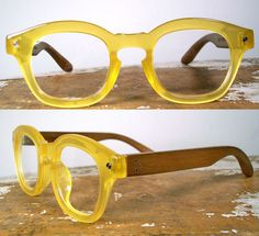 handmade rosewood and yellow acetate eyeglasses $225 from SpectatorFrames on Etsy