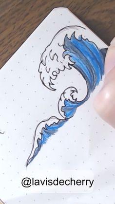 Doodle, dessin rapide et facile inspiré de La grande vague de Kanagawa de Hokusai. Au crayon de couleur et stylo noir 0.5 Full video on youtube @lavisdecherry #grandevague #greatwave #hokusai #dessin #draw #drawing #bulletjournal #doodle #bujo #vague #wave Cool Art Drawings, Pencil Art Drawings, Easy Drawings, Disney Gifs, Youtube Banner Backgrounds, Wave Drawing, Doodle Art Designs, Cute Designs To Draw, Easy Pencil Drawings