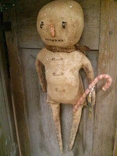 Extreme Primitive Grungy Snowman Winter Cloth doll by MeNtheGirls