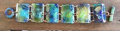 Lovely torch fired enamel over silver foil on copper bracelet