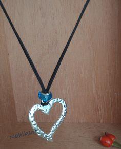 Collar de ante regulable con pandora cristal turquesa y corazón plata - Rebajas!! de Nahikare en Etsy