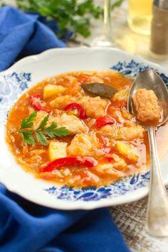 Zupa jarzynowa z kawałkami panierowanego łososia Thai Red Curry, Ethnic Recipes, Image