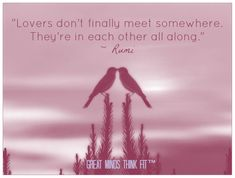"""Lovers don't finally meet somewhere. They're in each other all along."" ~ Rumi > #Rumi #Love #Quotes"