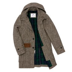 Charcoal Grey Wool Herringbone Tweed Overcoat. Men's Fall Winter Fashion.