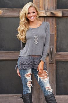 Taking Center Stage Lace Extender Top - Charcoal from Closet Candy Boutique #fashion #shop