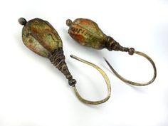 Artisan Earrings  porcelain dangle ceramic glass by greybirdstudio, £32.00
