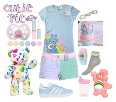 """""""Care Bear Cute"""" by lilcuriosity ❤ liked on Polyvore featuring H&M, adidas Originals, Timex, Deborah Lippmann, Maybelline, cute, little, ddlg, cgl and mdlg"""