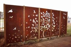 Our Tree with Scattered Leaves in custom 5 panel layout. Our Tree with Sc Outdoor Metal Wall Art, Metal Garden Art, Outdoor Walls, Outdoor Wall Panels, Outdoor Fun, Door Gate Design, Fence Design, Wall Design, Metal Screen