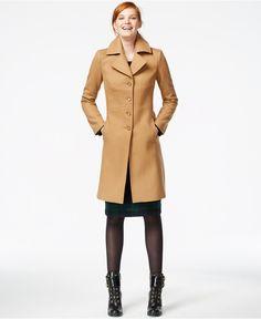 Tommy Hilfiger Topstitched Wool Walker Coat - Coats - Women - Macy's