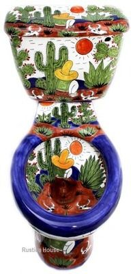 Mexican toilets: hand painted toilet